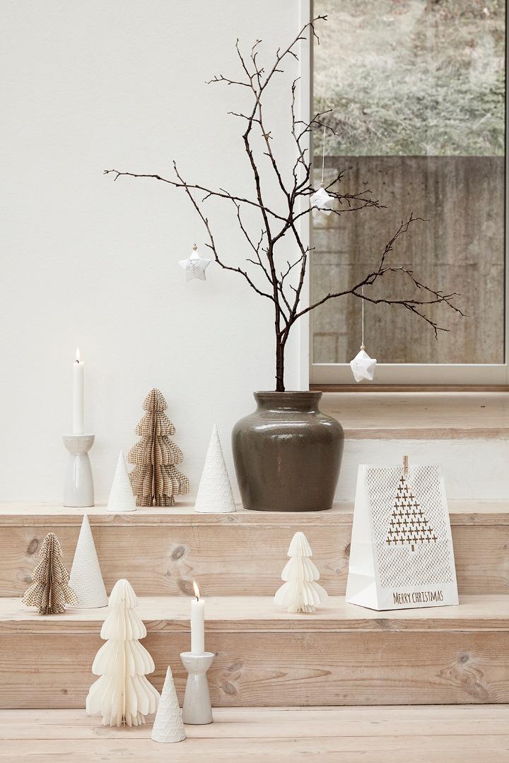 Hübsch Weihnachtsbaum, Porzellan, weiß, 2er Set - 2