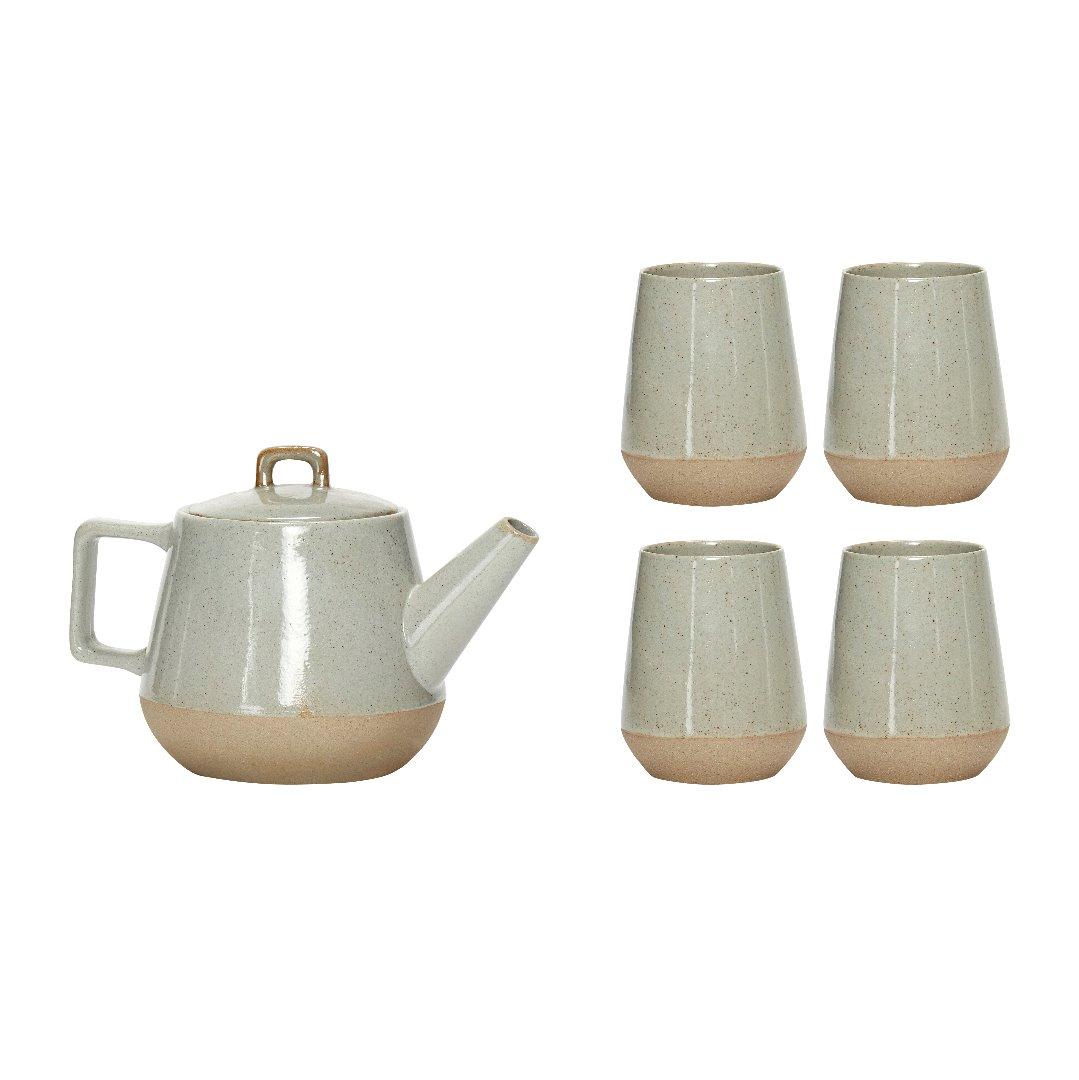 Teekannenset mit 4 Bechern