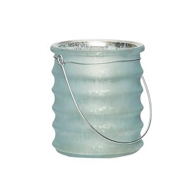 Hängeglas mit Rillen, Glas, hellblau matt - 1
