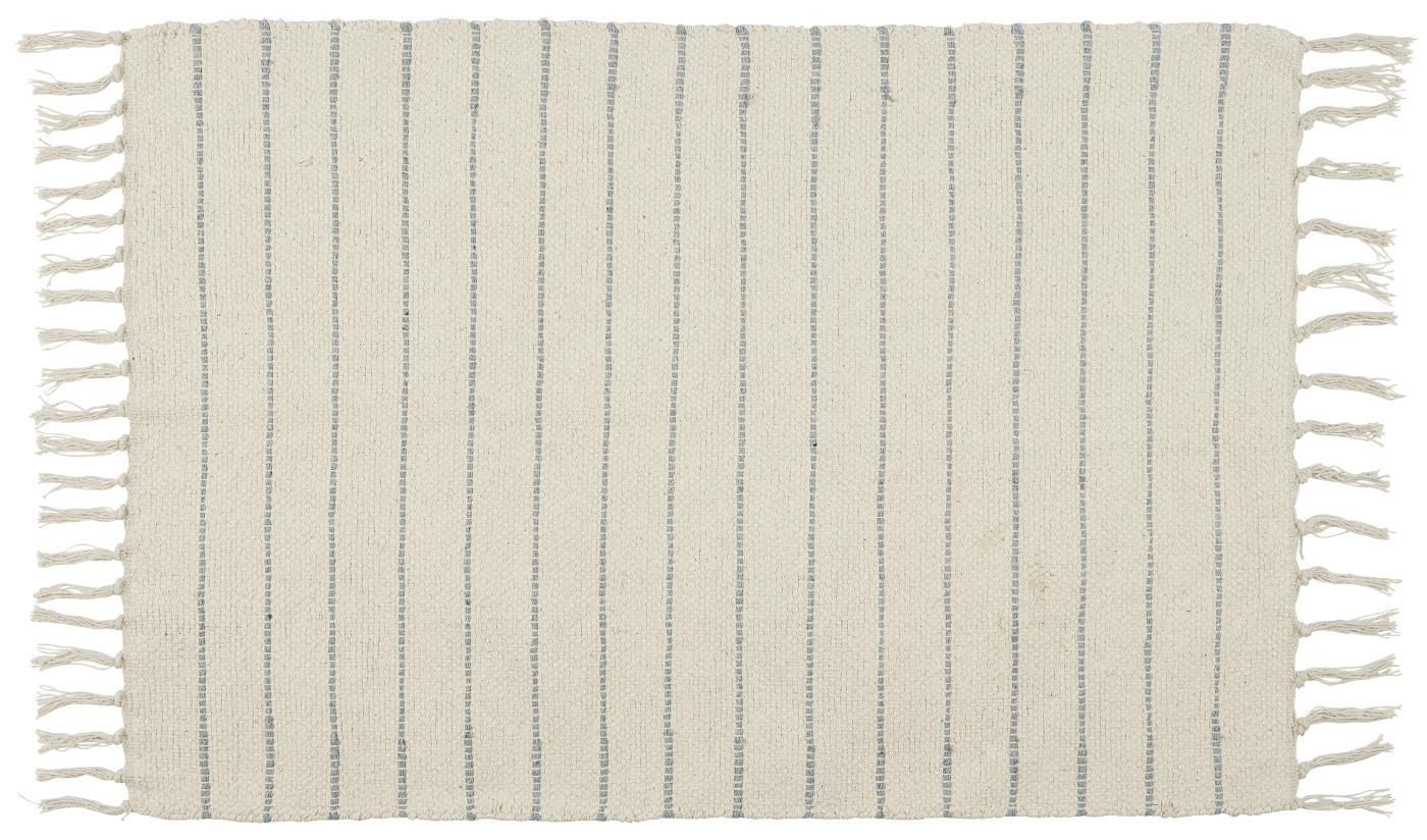 Bodenmatte creme mit hellblauen Streifen