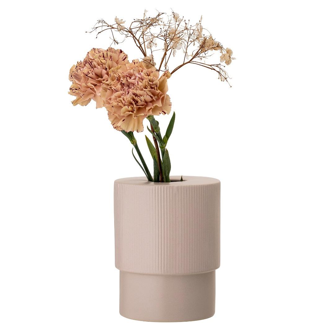 Vase hellrosa Steinzeug Zylinder geriffelt
