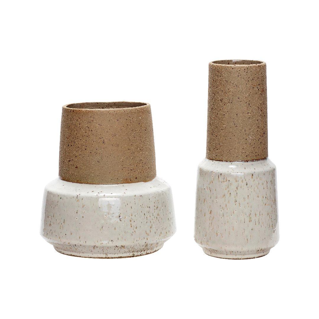2er Vasenset Keramik/Stand in sand/weiß