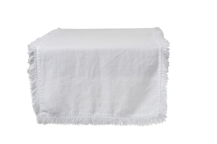 Tischläufer Fransen weiß aus Leinen