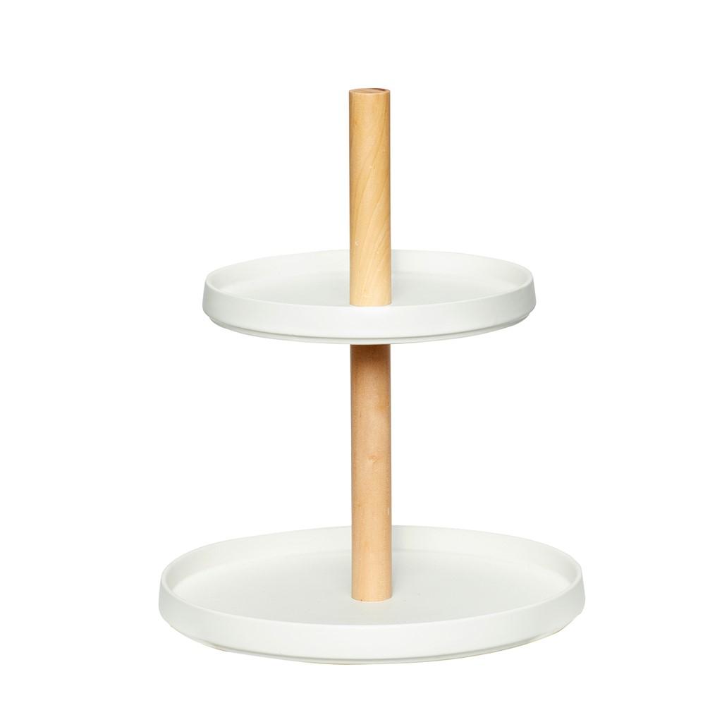 Etagere mit 2 Teller Keramik/Holz weiß/natur