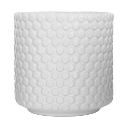 Blumentopf weiß Punktemuster Steinzeug/Keramik