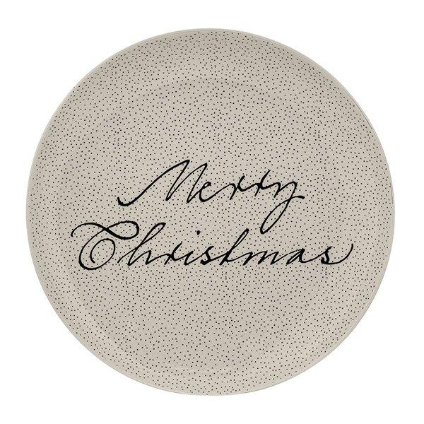 Snow Plate weiss rund Merry Christmas-