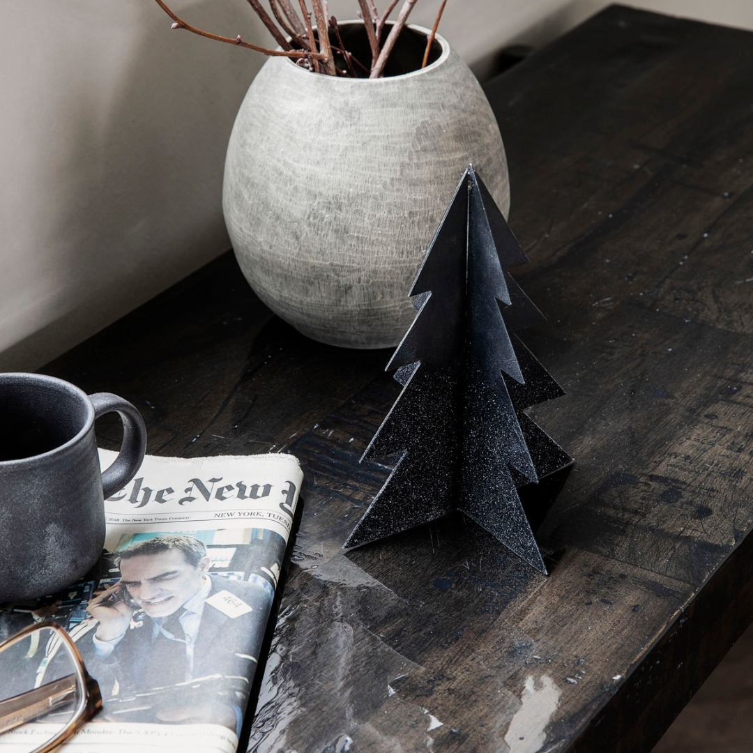 Weihnachtsbaum Glizz schwarz H: 26cm 2