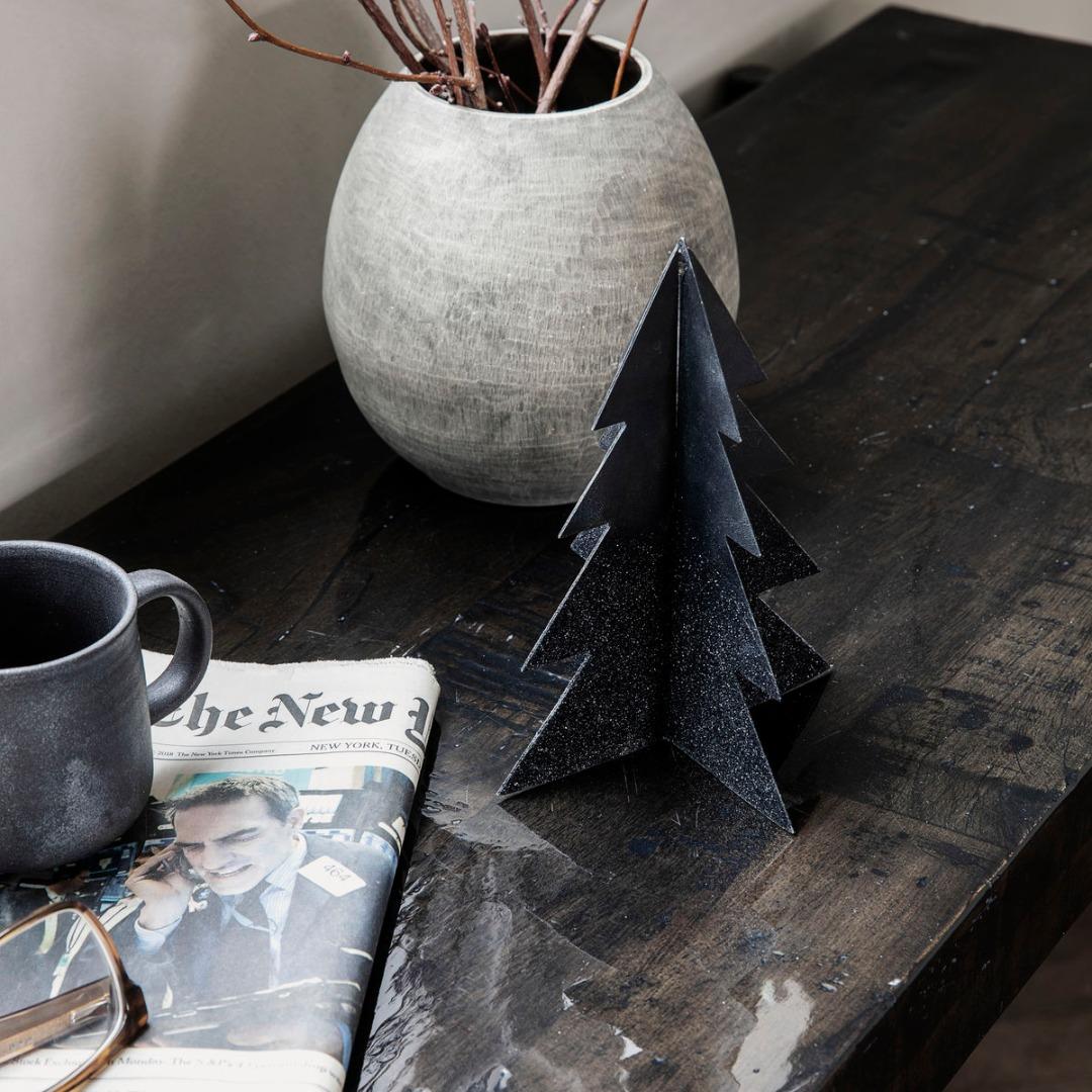 Weihnachtsbaum Glizz schwarz H: 17cm