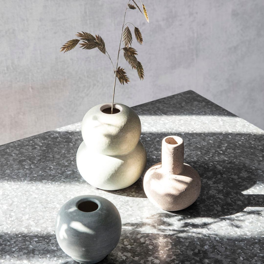 Vase Mini Bobbles Grau/Hellgrün 2