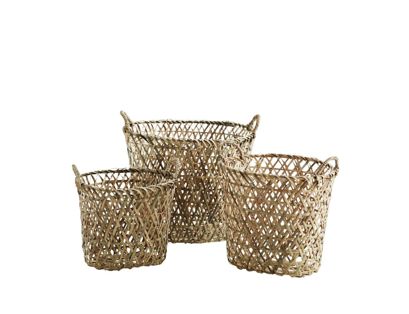 3er Set ovale Bambuskörbe 2
