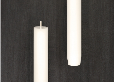 gegossene Stabekerze 22cm - weiß