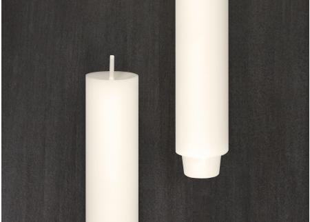gegossene Stabekerze 3cm - weiß 2