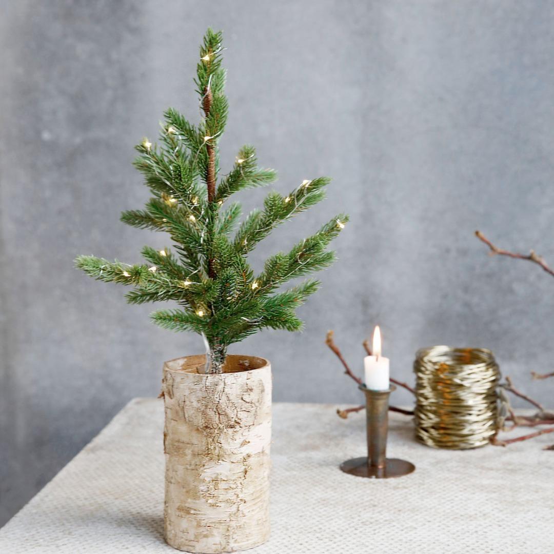 Weihnachtsbaum mit Lämpchen, Holzfuss - 1