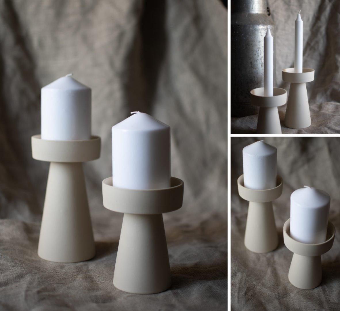 großer Kerzenhalter matt/beige aus Keramik 3