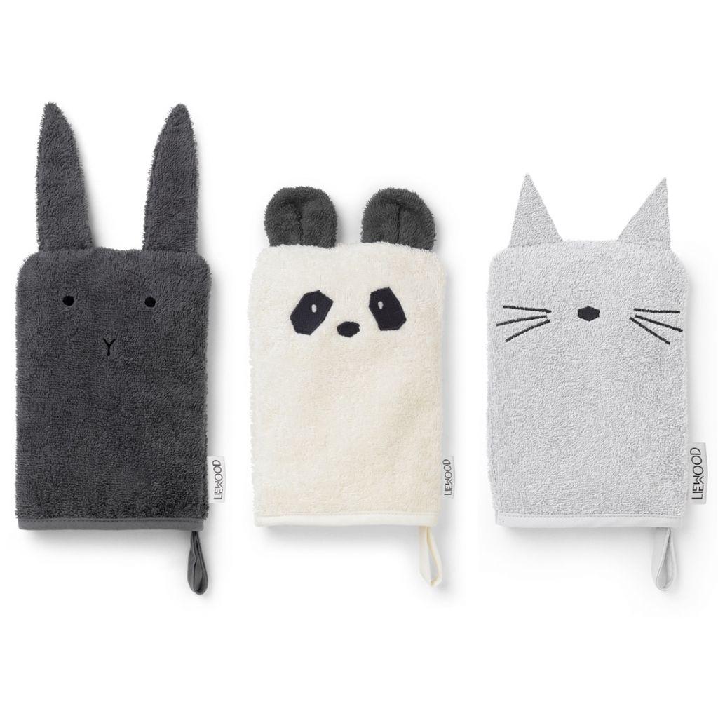 Waschtücher Hase, Panda, Katze - 1