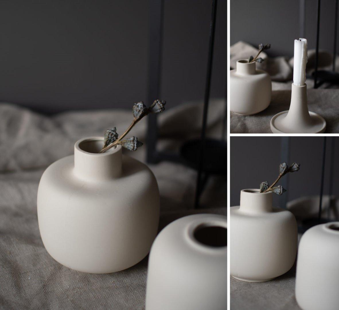 bauchige Vase beige 3