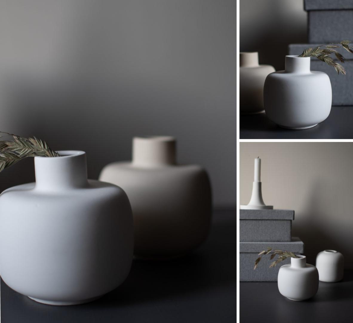 bauchige Vase weiß 3