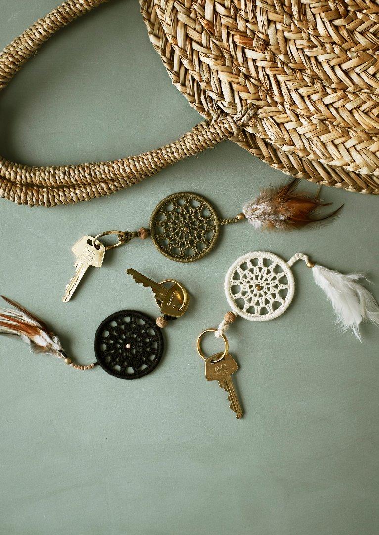 Traumfänger Schlüsselanhänger / weiß