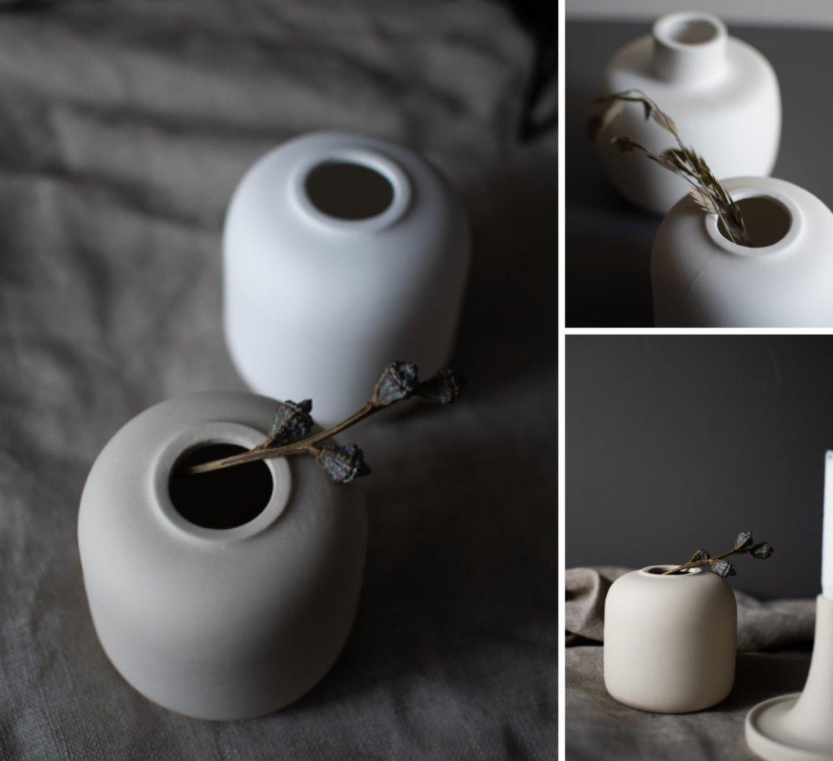 beige Vase aus matter Keramik 3