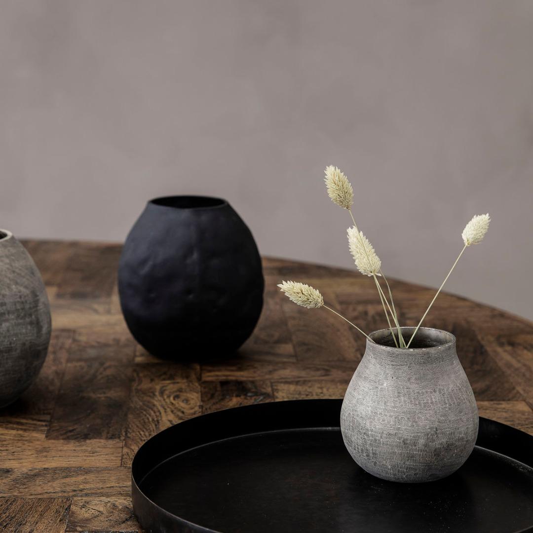Vase Groove grau 3
