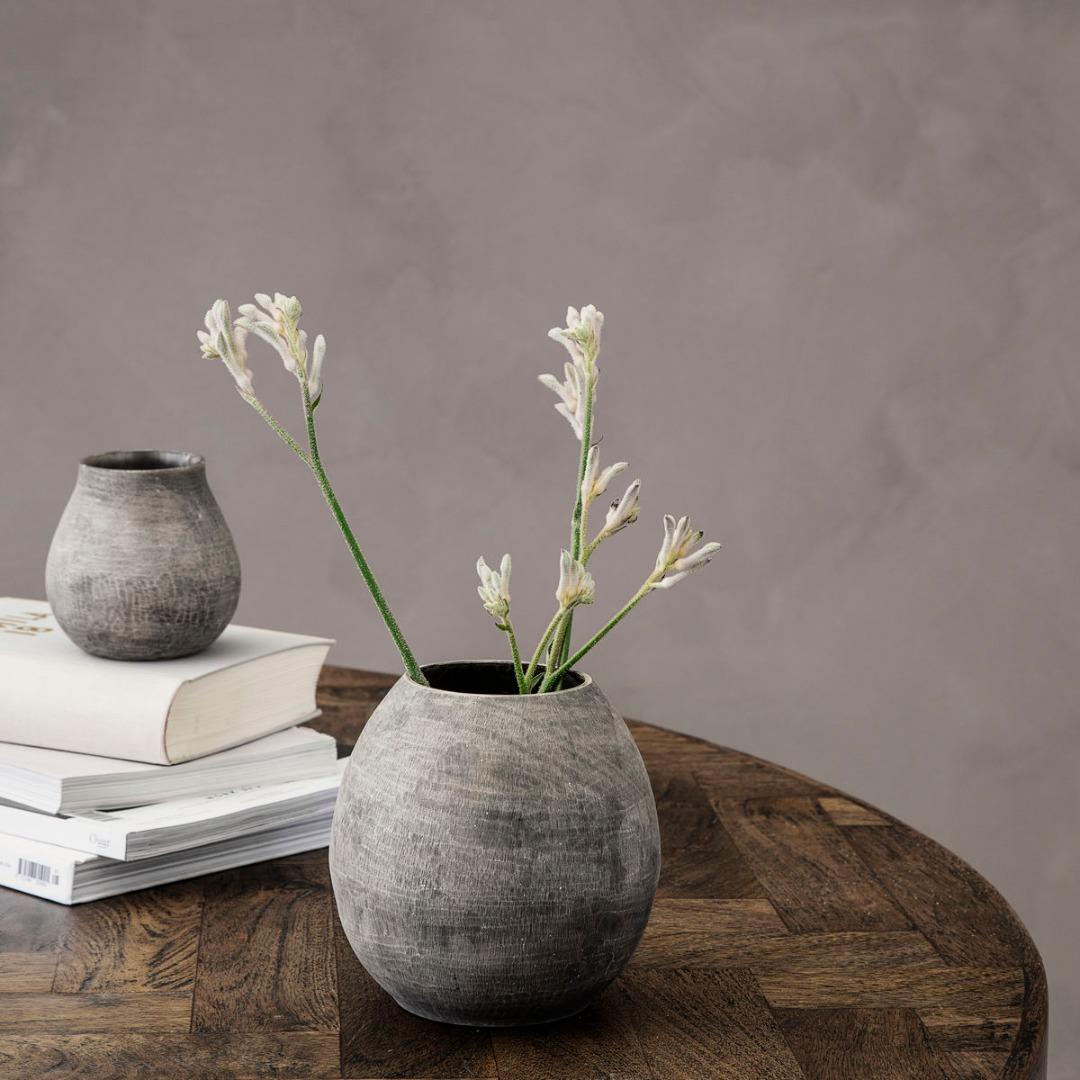 Vase Groove grau