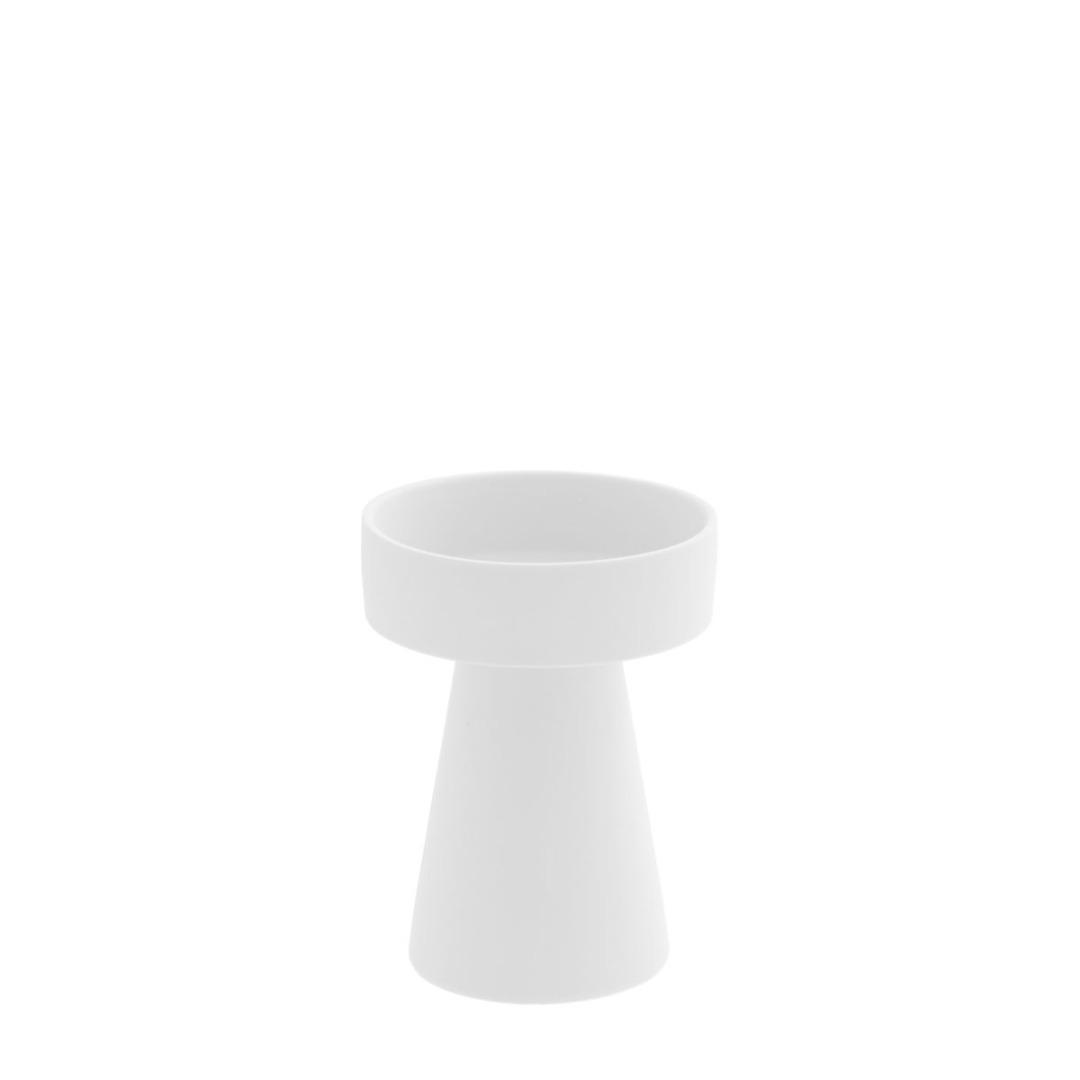 kleiner Kerzenhalter matt/weiß aus Keramik 3