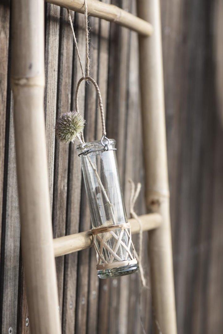 Vase mundgeblasen reagenzglasförmig m/Bambus 3
