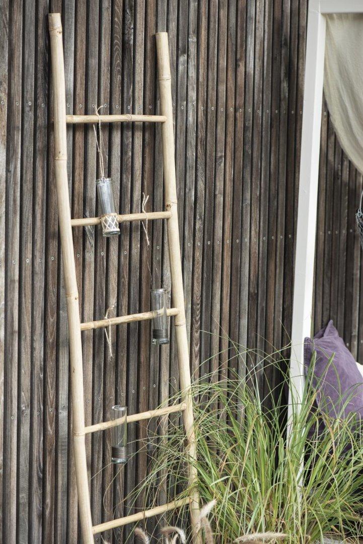 Vase mundgeblasen reagenzglasförmig m/Bambus 4