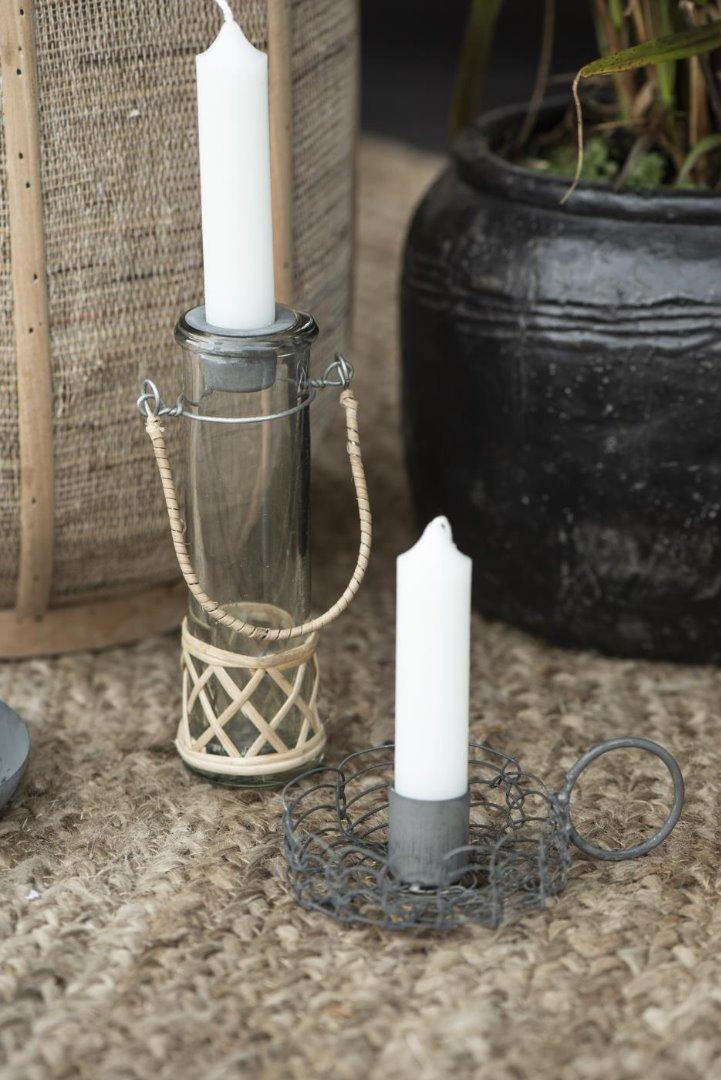 Vase mundgeblasen reagenzglasförmig m/Bambus 2