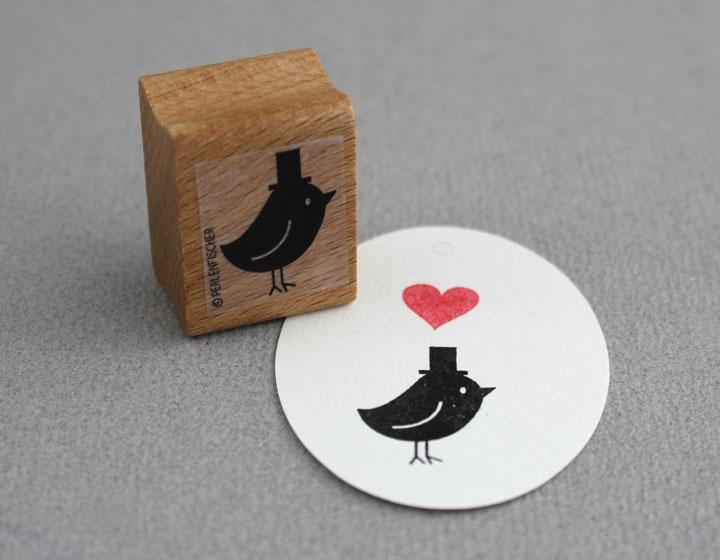 Stempel Vogel mit Hut - 1