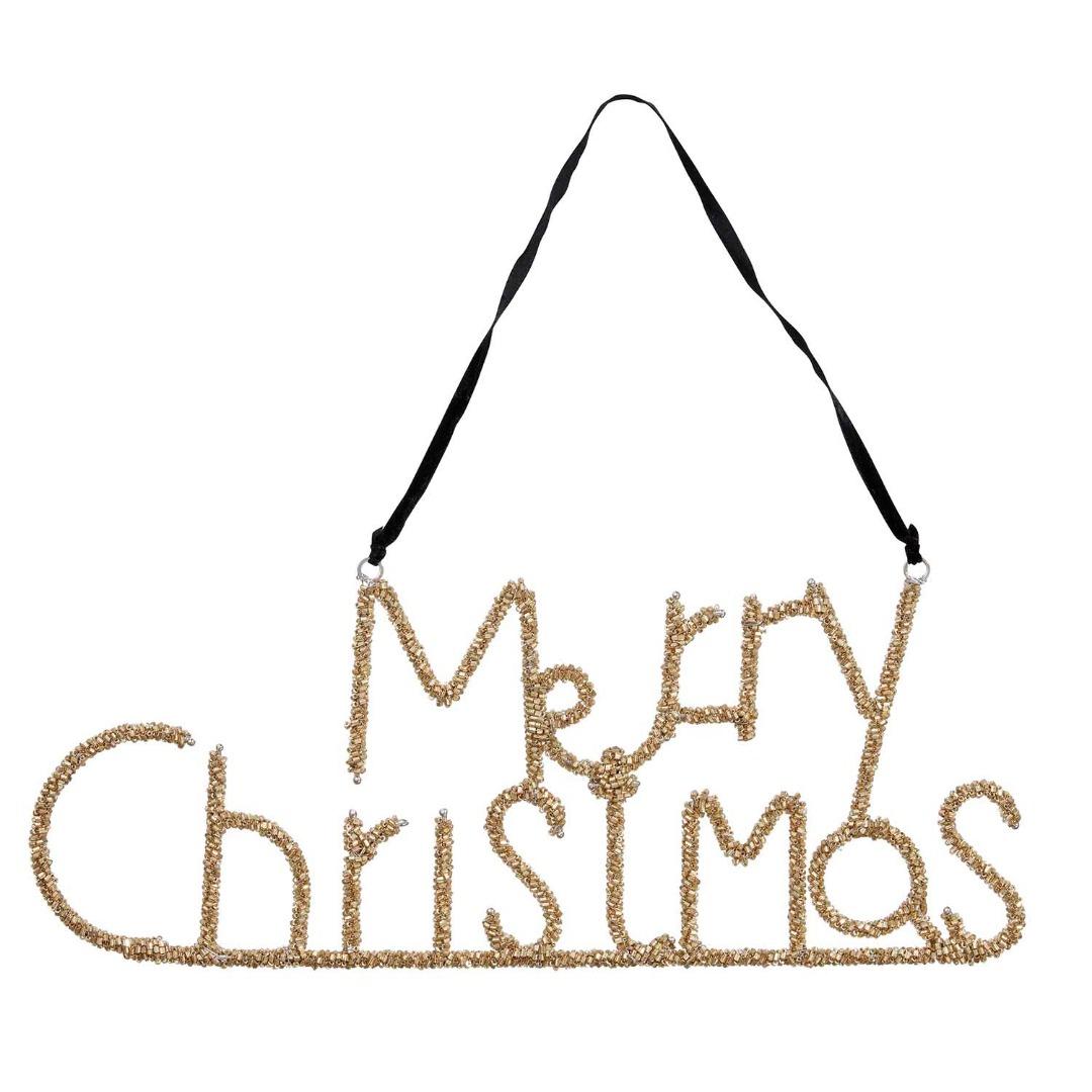 Aufhänger Perlen Merry Christmas gold