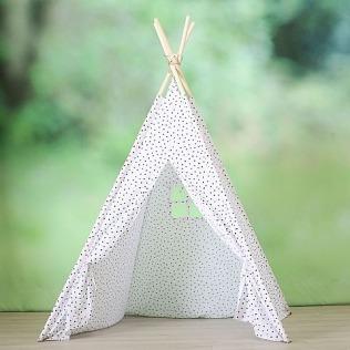 Tipi - Zelt für Kinder / weiss mit schwarzen Punkten