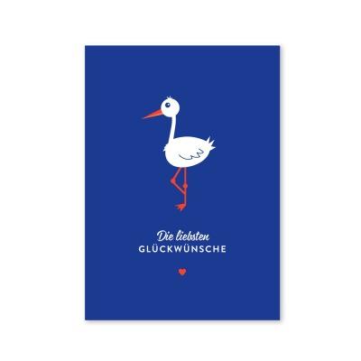 Klappkarte Storch - Die liebsten Glückwünsche