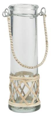 Vase mundgeblasen - Reagenzglasförmig m/Bambus