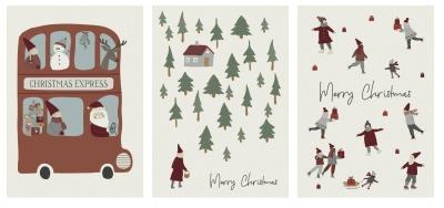 3er Set Weihnachtsklappkarten - Ib Laursen