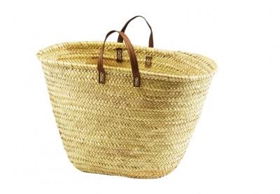 Ibiza-Tasche aus Palmblatt mit Echt-Ledergriffen L50cm