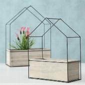 2er Set Pflanztopf Haus aus Glas