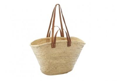 Palmtasche mit Ledergriffen und Lederhenkeln L50cm