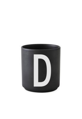 schwarzer Porzellanbecher D - Design Letters