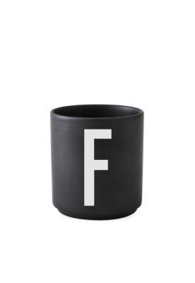 schwarzer Porzellanbecher F - Design Letters