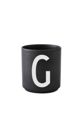 schwarzer Porzellanbecher G - Design Letters