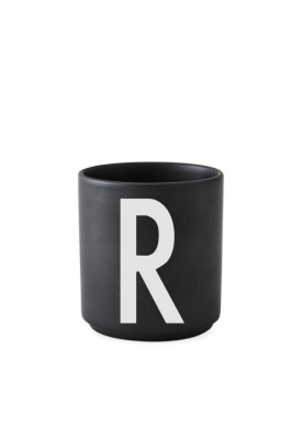 schwarzer Porzellanbecher R - Design Letters