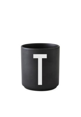 schwarzer Porzellanbecher T - Design Letters