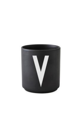 schwarzer Porzellanbecher V - Design Letters