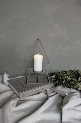 Tannenbaum mit Kerzenhalter - grau