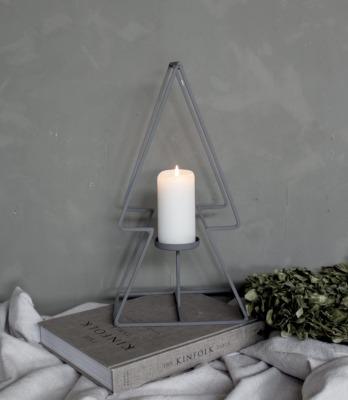 Tannenbaum mit Kerzenhalter groß - grau