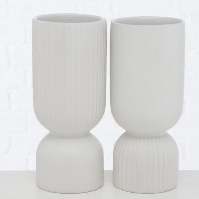 2er Set Vasen mit Rillen weiß