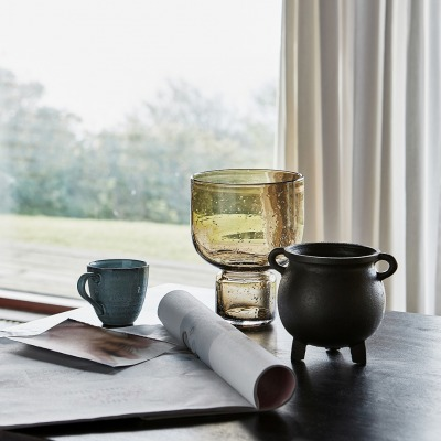 Stk Vase FARIDA aus Glas braun