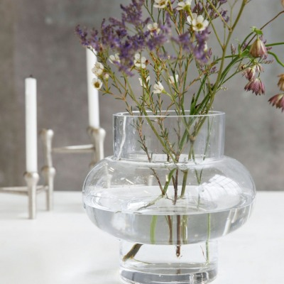 Vase FORMS LOW aus Glas klar