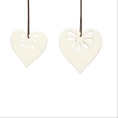Hübsch Anhänger Herz, Keramik, weiß, 2er Set - 10, 12cm